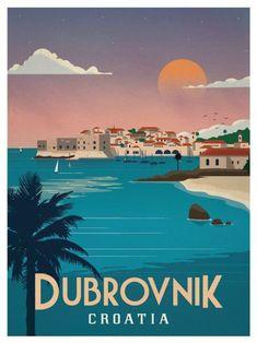 Dubrovnik Poster by IdeaStorm Studios. Available now at ideastorm. Dubrovnik Poster by IdeaStorm Studios. Available now at ideastorm. Retro Poster, Vintage Travel Posters, Vintage Postcards, City Poster, Poster S, Poster Prints, Art Print, Voyage Europe, Travel Illustration