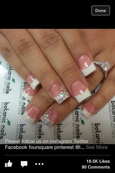 White nails with bling