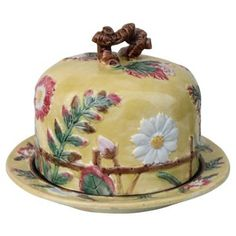Check out this item at One Kings Lane! Majolica Daisy Cheese Bell