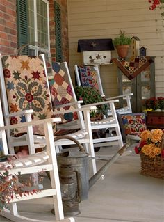 Fall Porch...prim quilts on the rockers.