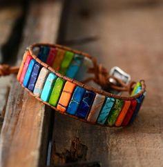 Chakra Bracelet Jewelry Handmade Multi Color Natural Stone Tube Beads Leather Wrap Bracelet Couples Bracelets Creative Gifts Super Fast Delivery: 5 to 8 day Bracelets Wrap En Cuir, Bracelet Wrap, Bracelet Cuir, Stone Bracelet, Bangle Bracelets, Statement Bracelets, Power Bracelet, Bracelet Men, Pearl Necklaces