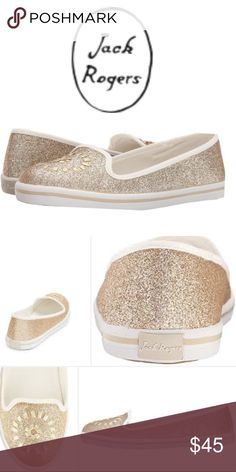Jack Rogers Gold Glitter Sip-on Sneakers Gold glitter cotton canvas upper features contrasting whipstitch detail at vamp. Slip-on entry. Twill lining and padded footbed. Extra padded footbed inserts. Man-made sole.  Lightweight about 7 oz.   size 8M. NEW WITHOUT BOX/TAG Jack Rogers Shoes Sneakers