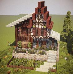 Rance(ランス) on - Minecraft World Casa Medieval Minecraft, Minecraft Building Guide, Minecraft Cottage, Minecraft Castle, Cute Minecraft Houses, Minecraft Houses Blueprints, Minecraft Plans, Minecraft House Designs, Minecraft Survival