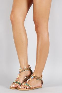 Bamboo Watercolor Strappy Jeweled Flat Sandal