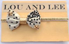 Baby bow headband - gold star studs and gold leather on metallic gold elastic