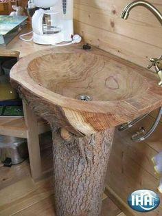 Holz Waschbecken Bad Form Holzoberfläche Gully Baumstamm - home decor ideas
