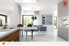 Dom w amarantusach Modern Architecture House, Kitchen, Table, Furniture, Home Decor, Collection, Houses, Mezzanine, Living Room