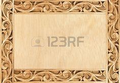 Patrón del marco de flores talladas en madera de fondo Foto de archivo