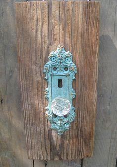 reclaimed wood crystal door knob in a patina color. $45.00, via Etsy. Crystal Door Knobs, Glass Door Knobs, Patina Color, Bottle Opener, Bedroom Ideas, Door Handles, Crystals, Antiques, Unique Jewelry