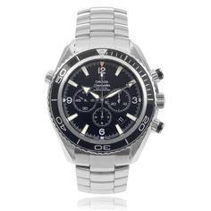 Keep the time with precise style in this 'Planet Ocean' watch from Omega. This Swiss made watch features a unidirectional tachymeter and black dial with subdials. A stainless steel bracelet secures with a push-button clasp.
