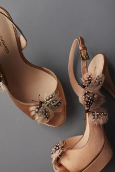 BHLDN On-A-Wing Heels, $480.00 #BHLDN #feathers #shoes