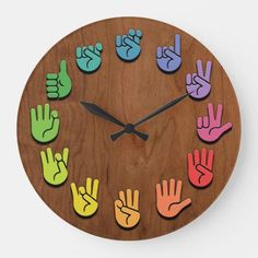 ASL Woodgrain Large Clock ASL sign language hands clock, with hands in color wheel colors, on a woodgrain faux finish background. Sign Language Phrases, Sign Language Alphabet, Learn Sign Language, American Sign Language, Sign Language Colors, Sign Language For Babies, Asl Signs, Deaf Culture, Muslim Culture