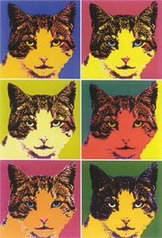 """""""Cat"""" Andy Warhol (1928-1987) artiste américain qui appartient au pop art, mouvement artistique dont il est l'un des innovateurs."""