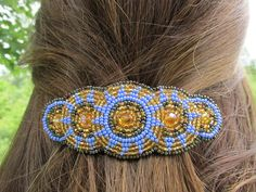 """Shared Treasures Boutique -  4"""" Beaded Barrette / Hair Clip - Blue Gold - Handmade in Guatemala, $16.00 (http://www.sharedtreasuresboutique.com/4-beaded-barrette-hair-clip-blue-gold-handmade-in-guatemala/)"""