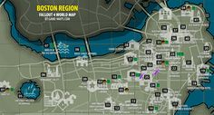 Fallout 4 - Boston Region Map Fallout 4 Fallout 4 Map, Fallout 4 Funny, Fallout Theme, Fallout New Vegas, Fallout 4 Locations, Fallout 4 Secrets, Fallout 4 Settlement Ideas, Boston Map, Fallout Cosplay