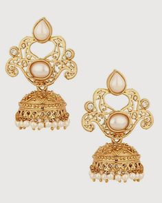 Voylla Jhumkis Earrings With Gorgeous Lamp post Design And Pearl Beads