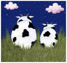 waiting for the shooting stars by Adnil on DeviantArt Cute Cows, Funny Cows, Bunny Painting, Black Bunny, Cow Art, Shooting Stars, Snoopy, Deviantart, Drawings