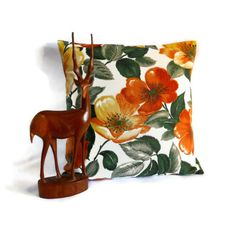 Retro orange rose 50s vintage fabric cushion £15.00