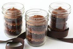 Glorious Treats » Chocolate Cupcakes in a Jar  (this pin has the directions to fill the jars)