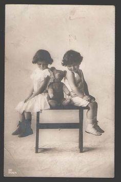 Kids w Teddy Bear Toy on One Seat Vintage Photo