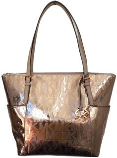 6306b5002be5 top handle bags  Michael Kors Jet Set East West Mirror Metallic Tote in  Rose Gold
