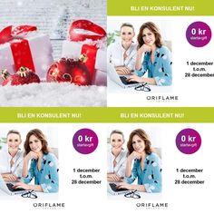 Gör en beställning senast den 28 december, som ny konsulent, då betalar du ingen startavgift! Och inga köpkrav!🙂Välkommen till Oriflame och mig!  beautystore.oriflame.se/HELENA