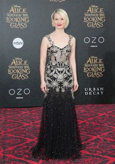 "Mia Wasikowska in Alexander McQueen Fall 2016 attends the premiere of Disney's ""Alice Through The Looking Glass on May 23, 2016 in Hollywood"