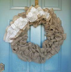 burlap crafts | Burlap and lace wreath | Crafts