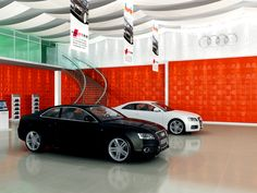 """Car showroom enhanced with """"Mosaic"""" feature walls surrounding the area. Wall Panel Design, 3d Wall Panels, 3d Tiles, Gold Coast, Plank, Showroom, Modern, Feature Walls, Car"""