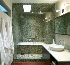 salle de bain avec douche italienne naturelle et relaxante - Salle De Bain Douche Et Baignoire