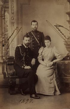 Signed photograph of Nicky with his sister Xenia and brother in law Sandro, 1894.
