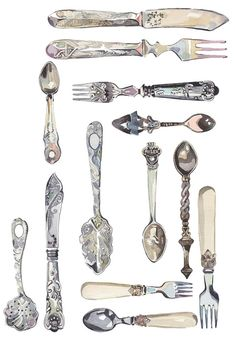 Cutlery Collection Art Print by Holly Exley Illustration Cutlery Art, Vintage Cutlery, Flatware, Art Watercolor, Watercolor Illustration, Holly Exley, Collections Of Objects, Sketchbook Inspiration, Illustration Artists