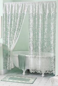 rose lace shower curtain