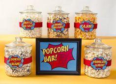 Superhero Birthday - Popcorn Bar - Also has cute signs, and food ideas.