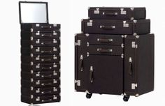 Jean Paul Gautier dressers that look like old suitcases. The tall one would be so fabulous for makeup storage! I'm sure they cost they earth, and they are a limited edition, but a girl can dream.....