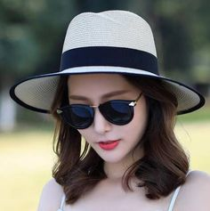 Fashion color block straw hat for women UV protection sun hats