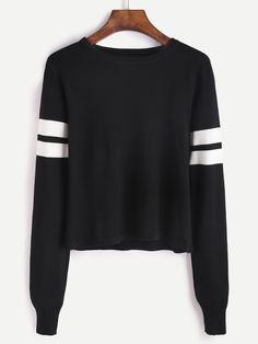 Shop Black Striped Trim Jersey Sweater online. SheIn offers Black Striped Trim Jersey Sweater & more to fit your fashionable needs.