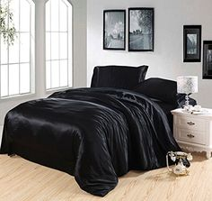 Wholesale-Black Silk bedding set satin super king size queen double quilt duvet cover fitted sheets bed in a bag bedspread doona Fitted Bed Sheets, Cheap Bed Sheets, Cheap Bedding Sets, Queen Bedding Sets, Luxury Bedding Sets, Comforter Sets, Affordable Bedding, California King, Home Decor