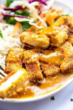 Katsu Curry Recipes, Tofu Curry, Vegetarian Recipes Dinner, Vegan Meals, Vegetarian Food, Breaded Tofu, Crispy Tofu, Mish Mash, Recipes