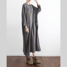 gray casual  stylish linen dress pockets long sleeve sundress embroidery vintage maxi dressThis dress is made of cotton linen fabric, soft and breathy, suitable for summer, so loose dresses to make you comfortable all the time.Flattering cut. Makes you look slimmer and matches easlily. Materials used: cotton  linenMeasurement:One size fits all for this item. Please make sure your size doesn't exceed this size: BUST-130cm      bust 130cm / 50.7Sleeve length 55cm / 21.45