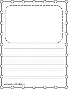 Great Use This Writing Paper For Students To Draw A Picture And Write A Story.  Included Is A Blank Space For The Picture, Handwriting Guide Lines For Half  The ... With Lined Paper With Drawing Box