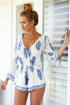 The perfect romper for that easy breezy carefree weekend! Add your favorite flip flops and you're ready for the beach or a patio lunch. Featuring a chic contrast print pattern with a drawstring waist