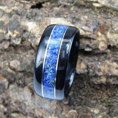 Bentwood Ring Ebony with Lapis Lazuli Inlay and Sterling Silver Accents on Etsy, $120.00
