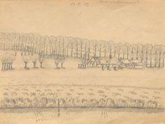 """""""Hinter uns[erem] Exerzierplatz"""", Bleistiftzeichnung: Vereinzelte Häuser, entlang einer Allee, davor eine Wiesenlandschaft. Bestand 192-31, Nr. 4."""
