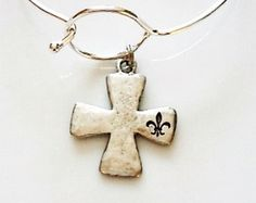 Silver Plated Bangle with Cross Charm - Edit Listing - Etsy