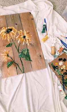 50 ideas for diy art paintings acrylics inspiration Painting Inspiration, Art Inspo, Sunflower Art, Sunflower Paintings, Watercolor Sunflower, Art Diy, Aesthetic Painting, Wall Collage, Painting & Drawing