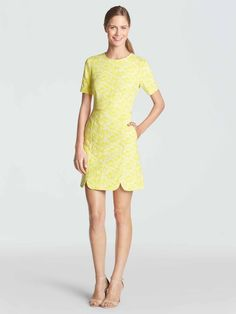 In a lovely textured jacquard and a sunny yellow hue, this dress was an immediate design favorite. Then we added pockets—perfection.
