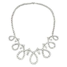 Pierre Sterle Paris 1950s Diamond Loop necklace | From a unique collection of vintage choker necklaces at http://www.1stdibs.com/jewelry/necklaces/choker-necklaces/