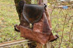 Купить Рюкзак из натуральной кожи в стиле бохо оттенки какао - коричневый, однотонный, комбинированный