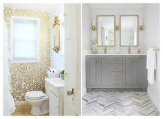 tono dorado al baño Vanity, Mirror, Bathroom, Recherche Google, Frame, Furniture, Home Decor, Vintage Style, Interior Design